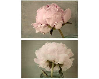 Peony Print Set, Floral Art Prints, Still Life Set,  French Country Home Decor, Flower Photos, Bedroom Decor, Peony Art Set