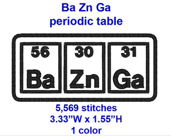 Big Bang Theory, Ba Zn Ga , periodic table-  machine embroidery design file.
