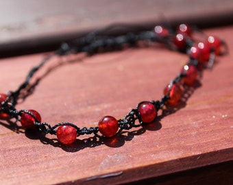 Red Agate Anklet- Square Knot Macrame