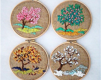 Four seasons Hoop wall art Embroidery by nerina52 fiber wall art Decorative Arts Embroidery hoop Fiber art Tapestry Textiles Home decor