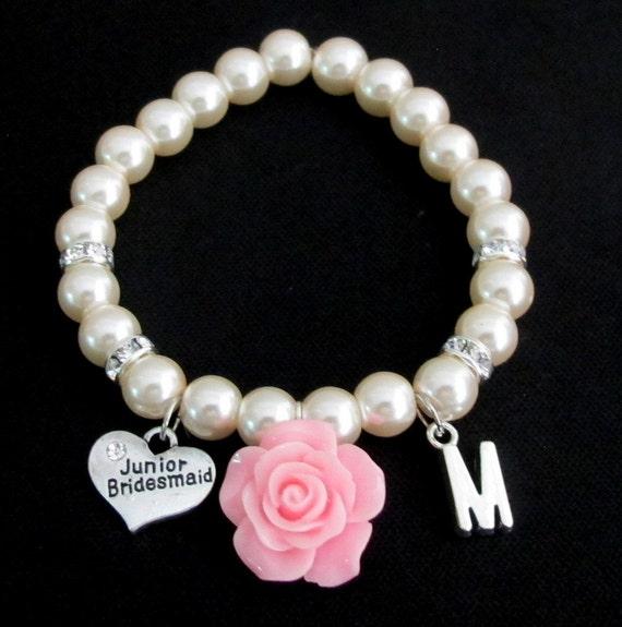 Personalized Junior Bridesmaid Bracelet,Pink Rose Flower Initial Pearl Bracelet, Jr Bridesmaid Bracelet,Childrens Jewelry, Free Shipping USA