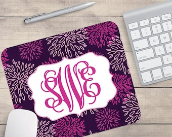 Pink And Purple Flower Mouse Pad, Floral Mouse Pad, Monogram Mouse Pad, Name On Mouse Pad, Personalized Mouse Pad (0004)
