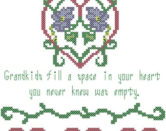 Grandma cross stitch pattern, Grandkids cross stitch pattern, Gift for Grandma cross-stitch chart, counted cross stitch pattern