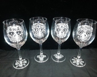 Custom Etched Sugar Skull Wine Glasses