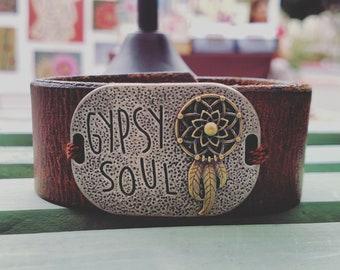 Gypsy Soul Recycled Leather Cuff bracelet