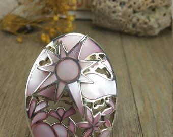 Vintage Sterling Silver Pink Summer Scene Pendant