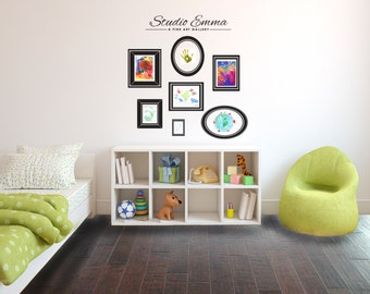 Personalized Kids Art Gallery Wall with Frames - Wall Decal Custom Vinyl Art Stickers