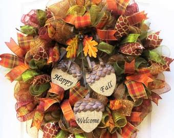 Fall Mesh Wreath, Fall Leaves Wreath, Deco Mesh Fall Wreath, Fall Welcome Wreath with Acorns, Fall Door Wreath, Autumn Wreath, Fall Decor