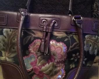 Purse Croft & Barrows Black and Brown Floral Linen Top Handle Handbag