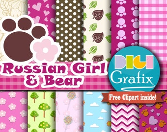 Russian Girl & Bear Digital Paper - Bear Clipart, Girl Pink Scrapbook Paper, Printable Paper,  Nursery Decor, Birthday Party