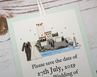 Malcesine Castle Save the Date Cards //Italian Wedding