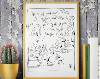 J.K. ROWLINGS QUOTE Giclee ART Print - We Carry All the Power In Ourselves -  Hand Drawn Illustration - Movie/Film Book Harry Potter Art