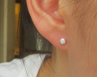 3mm , 4mm, 5mm and 6mm available  Bezel setting Cubic Zirconia Stud Earrings, Cartilage Earring, tiny stud earrings