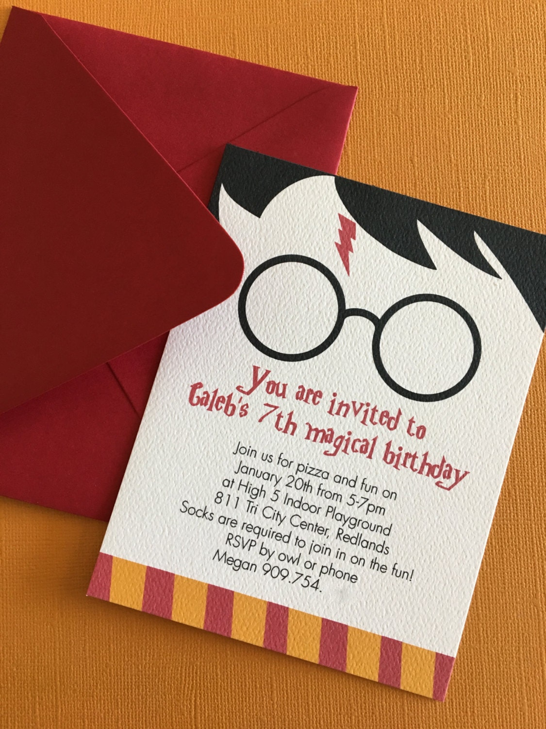 Harry Potter Themed Birthday Party Invitation Magic Witch