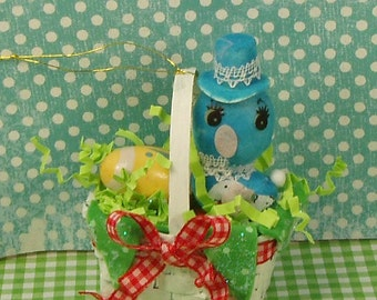 Easter ornament Retro vintage Easter basket with blue bird yellow egg and red bow spring decor