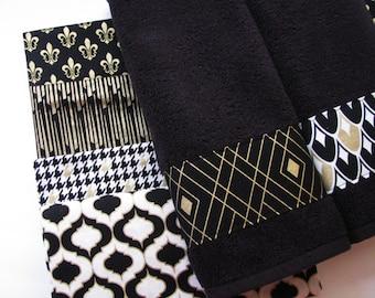 Black Gold Towels, Custom Towels, Black Bathroom, Black Towels, Black Hand  Towels, Black And Gold, Quatrefoil, Houndstooth, Fleur De Lis