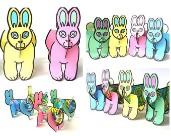 Colored Easter Egg Easter Bunny Set - Printable Toy