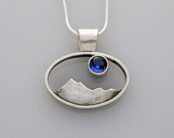 "Silver Mountain jewelry- silver pendant ""Jeweled Peaks"" with stone"