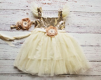 Gold Flower Girl Dress, Tutu Birthday Outfit, Flower Girl Dress Sash, Flower Girl Tutu Dress..Cream, Gold Rustic Lace Dress