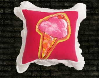 Ice cream pillow. Decorator.  Recycled.  Upcycled. 14x14 pink. Yellow.
