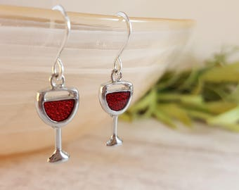 Red Wine Sterling Silver Earrings - 925 Sterling Silver - Red Wine Glass - Wine Earrings - Wine Jewelry - Mom Gift - Gift for Her - Wine