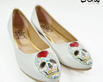 SUGAR SKULL - handmade design shoes, flats, day of the dead, mexican shoe, calavera flats, pointed toe flats