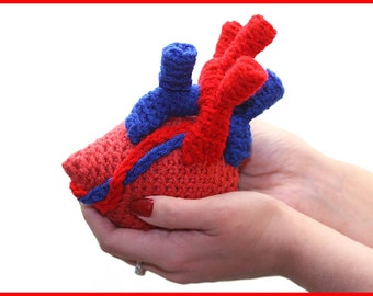 DIGITAL DOWNLOAD: PDF Crochet Pattern for the Anatomical Heart Amigurumi