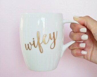 Gold Wifey Coffee Mug (ONE) Engraved Dansk Fjord White Porcelain Mug, Wedding Gift, Engagement Gift, Anniversary Gift, Newlyweds Gift