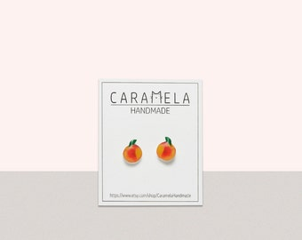 Peach Stud Earrings Fruit earrings Peach Earring  Post Peaches Fruit Miniature Food Peach Jewelry Peach Gift
