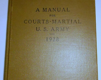 Military Law Book United States Army 1928