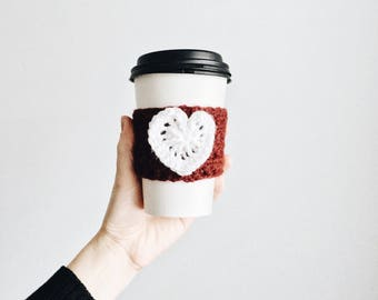 heart cup cozy. coffee sleeve. crochet cup cozy. eco friendly gifts. valentines day gift. red and white cozy. coffee cozy. hot drink huggie