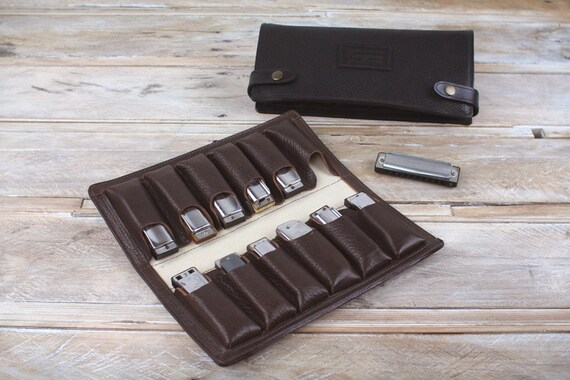 12-Pack Leather Harmonica Case