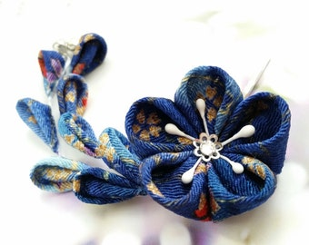 Ocean Navy Deep Blue Gold Red Purple Cherry Blossom Festival Kanzashi Flower Hair Clip