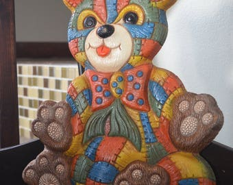 1979 FoamCraft Patchwork Bear Wall Hanging