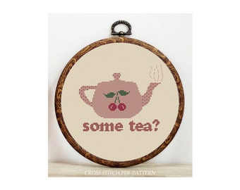 Teapot-Cross Stitch Pattern-Modern Sampler-Pdf-Instant Download