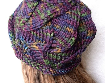 Pattern - Knitted Swirl Hat,  Bulky