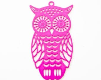 Fuchsia filigree OWL shaped metal charm