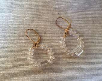 Clear Beaded Hoops