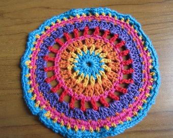 Mexican Sunset Crochet Mandala Vibrant and Fun