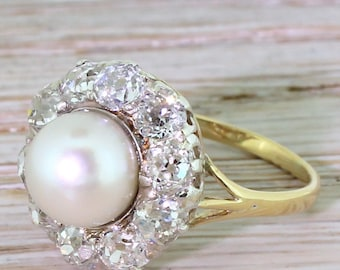 Art Deco Pearl & 2.00 Carat Old Cut Diamond Cluster Ring, circa 1920