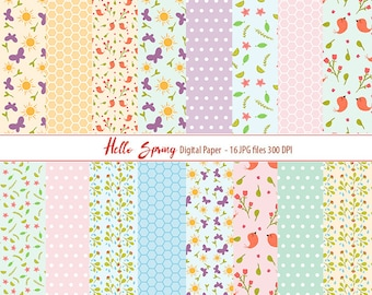 Hello Spring Paper Welcome Spring Paper Pack Bird Digital Paper Pack