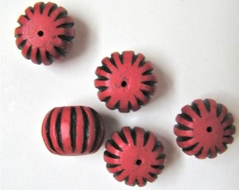 Striped Faux Cinnabar Beads - Five  (5) - Red Black Bold Stripe