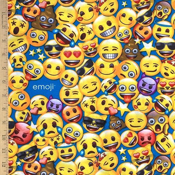 Emoji licensed fabric emoji 39 s on blue all the emoji for Emoji material by the yard