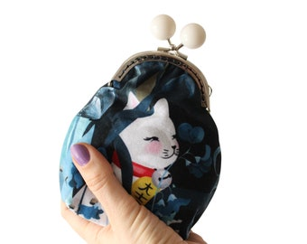 Lucky Cat Cat Purse Moon - SMALL - double sided lucky cat maneki neko moon face bobble clasp purse varied colour bobbles coin purse