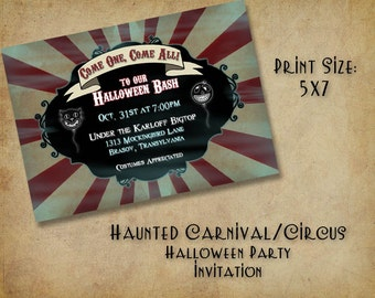 Haunted Carnival/Circus Halloween Party Invitation - (DIGITAL FILE ONLY)