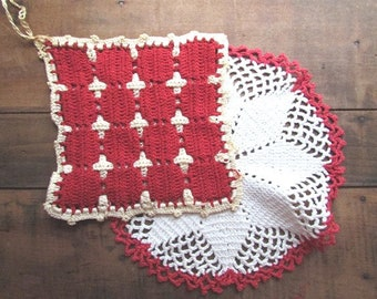 Crochet Potholders Vintage Red and White Handcrafted Pot Holders