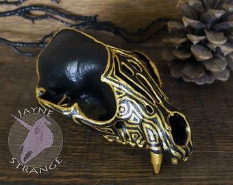 Golden Raccoon - Carved - Skull,racoon,gold,acyrlic,oddity,vulture culture,strange,gift,unique,strange,artist,witch,dark,alter,bone.
