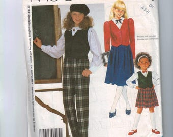 Kids Sewing Pattern McCalls 2153 Girls Jacket or Vest Skirt and Pants Size 4 5 6 Breast 23 24 25 1980s 1985 UNCUT