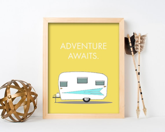 "framed wall art, framed art prints, large framed art, large framed wall art, retro camper, wall art prints, colorful - ""Adventure Awaits"""