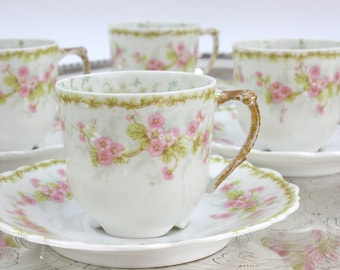 French Limoges Demitasse - SET of 5, Demi Cups and Saucers, Pink and Green Floral, French Tea Time, Bawo & Dotter, Antique Demitasse, c1800s